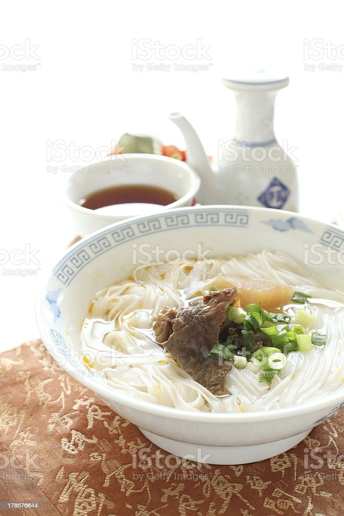 Vietnamese food, rice noodles Pho with beef tendon royalty-free stock photo