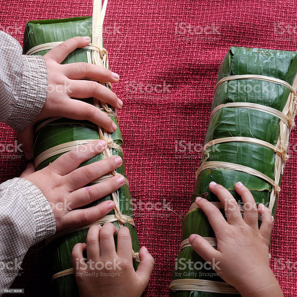 Vietnamese food, traditional food, vietnam banh tet stock photo