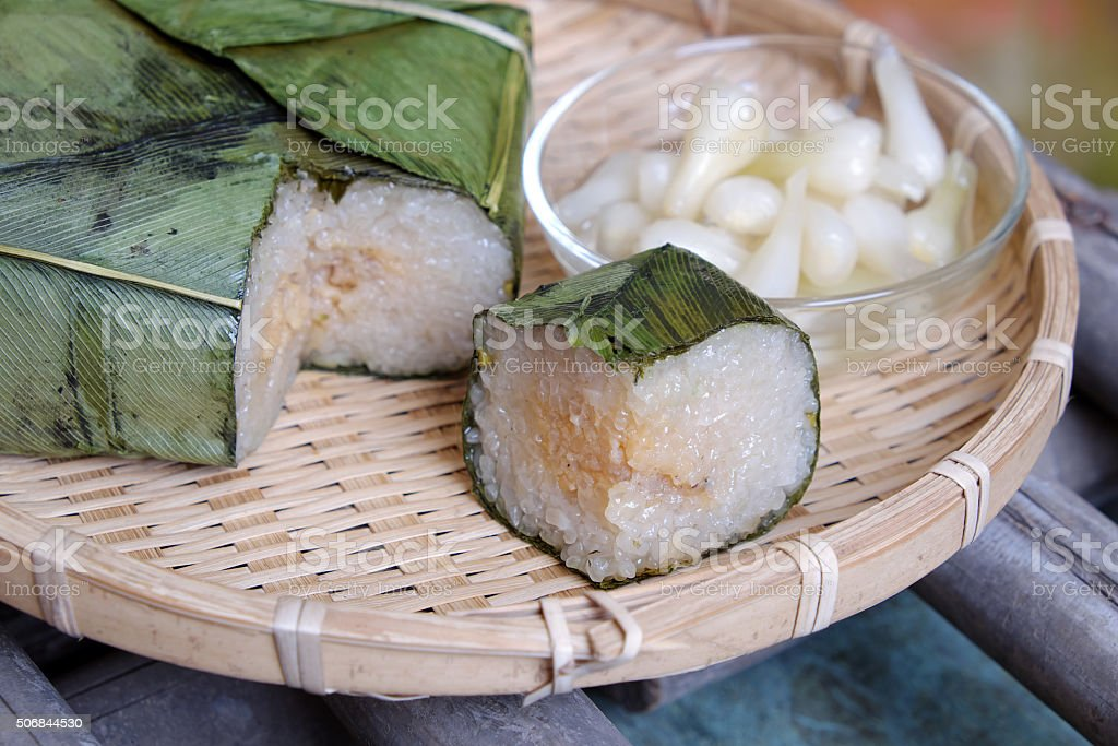 Vietnamese food,Tet, banh chung, traditional food stock photo