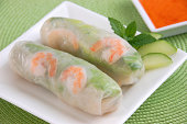 """""""A refreshing appetizer of cold shrimp, vermicelli, lettuce, mint, and bean sprouts, wrapped in a rice paper roll.Another image from this series:"""""""