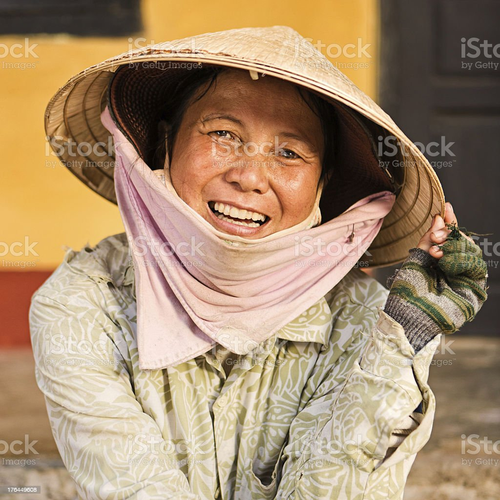 Vietnamese fruit seller royalty-free stock photo