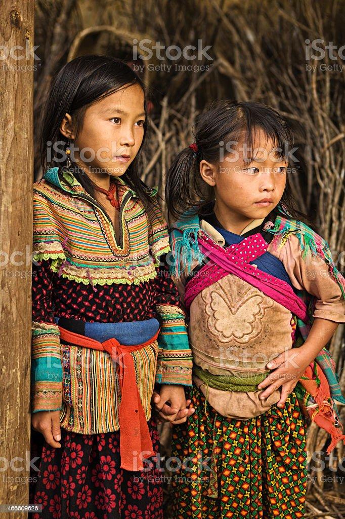 Vietnamese little girls from Flower Hmong Tribe stock photo