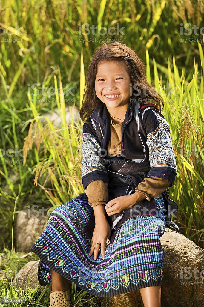 Vietnamese minority people - girl from Black Hmong Hill Tribe royalty-free stock photo