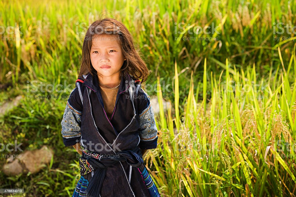 Vietnamese minority people - girl from Black Hmong Hill Tribe stock photo
