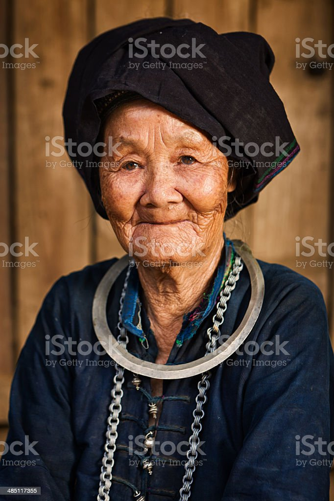Vietnamese minority people - woman from Nung Hill Tribe stock photo