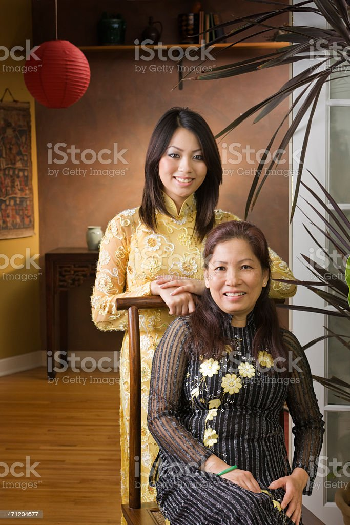 Vietnamese Mother & Daugther at Home Vt stock photo