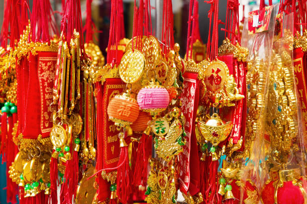 Vietnamese New Year decorations red and gold colors on a street. Hue, Vietnam. stock photo