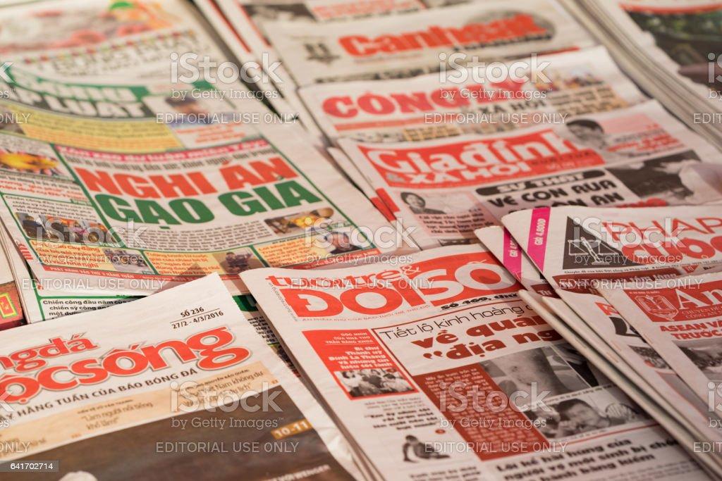 Hanoi Vietnam Feb 28 2016 Vietnamese Newspapers For Sale On