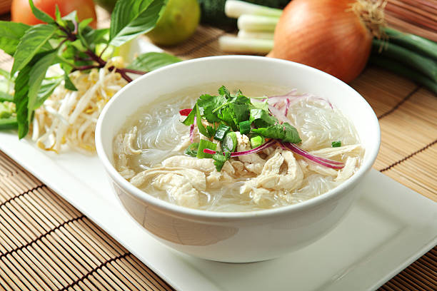 vietnamese noodle, chicken pho - pho soup stock photos and pictures