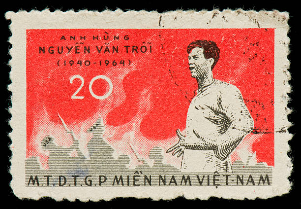 Vietnamese postage stamp dedicated to Nguyen Van Troi Vietnamese postage stamp dedicated to Nguyen Van Troi, a Việt Cộng (National Liberation Front) bomber. He gained notoriety after being captured by the South Vietnamese while trying to assassinate United States Secretary of Defense Robert McNamara and future ambassador Henry Cabot Lodge, Jr. who were visiting South Vietnam in May 1963. viet cong stock pictures, royalty-free photos & images