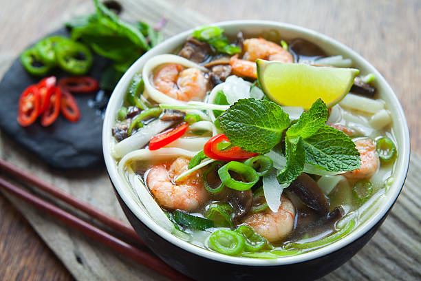 vietnamese prawn pho tom - pho soup stock photos and pictures
