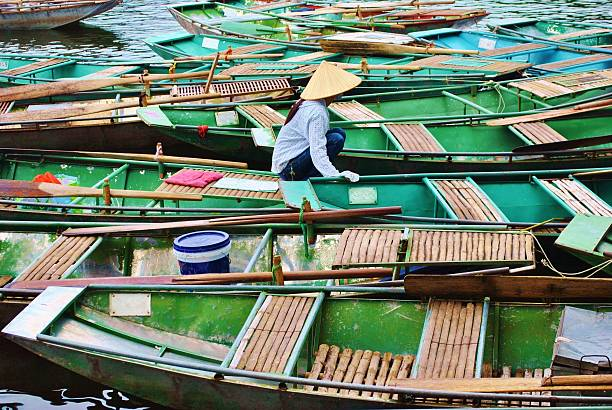 Vietnamese Rowing Boats, Tam Coc stock photo