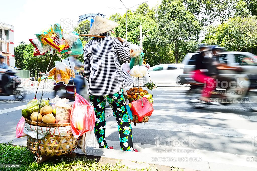 Vietnamese saleswoman stock photo