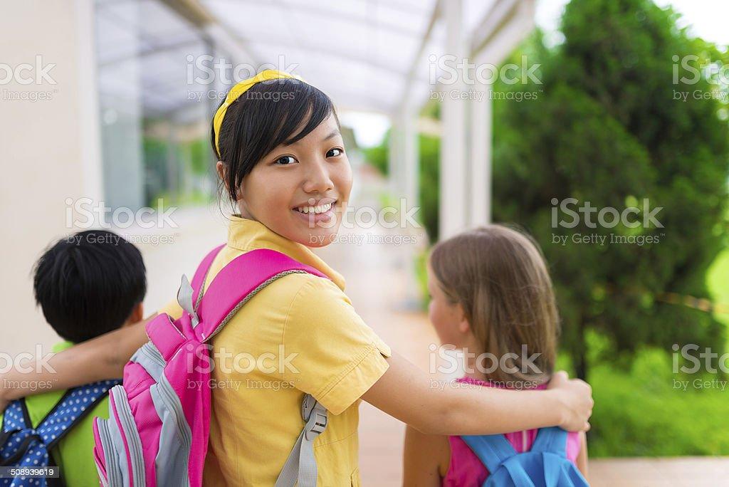 Vietnamese schoolgirl stock photo