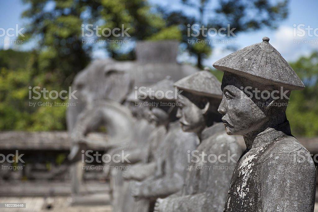 Vietnamese Soldiers statues at Khai Dinh Emperor's Mausoleum, Hue, Vietnam royalty-free stock photo