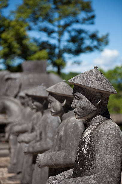 Vietnamese Soldiers statues at Khai Dinh Emperor's Mausoleum, Hue, Vietnam Hue, Vietnam khai dinh tomb stock pictures, royalty-free photos & images