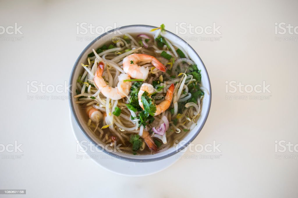 Vietnamese Soup Bow with seafood stock photo