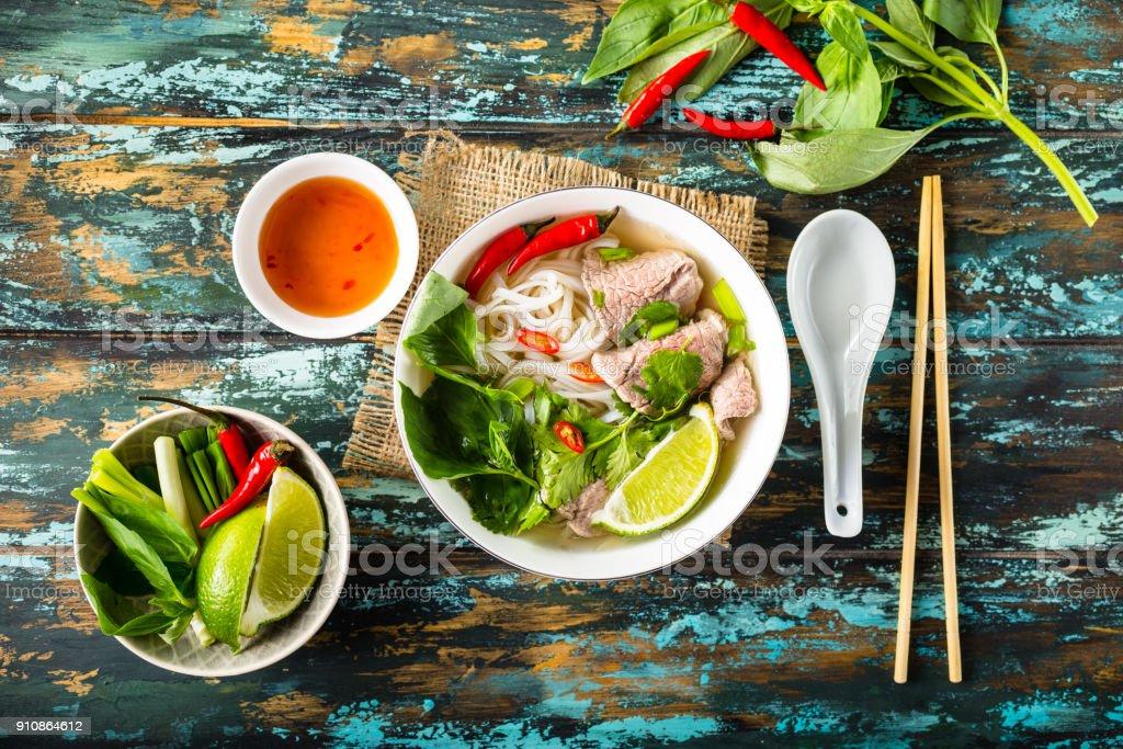 Vietnamese soup pho bo stock photo