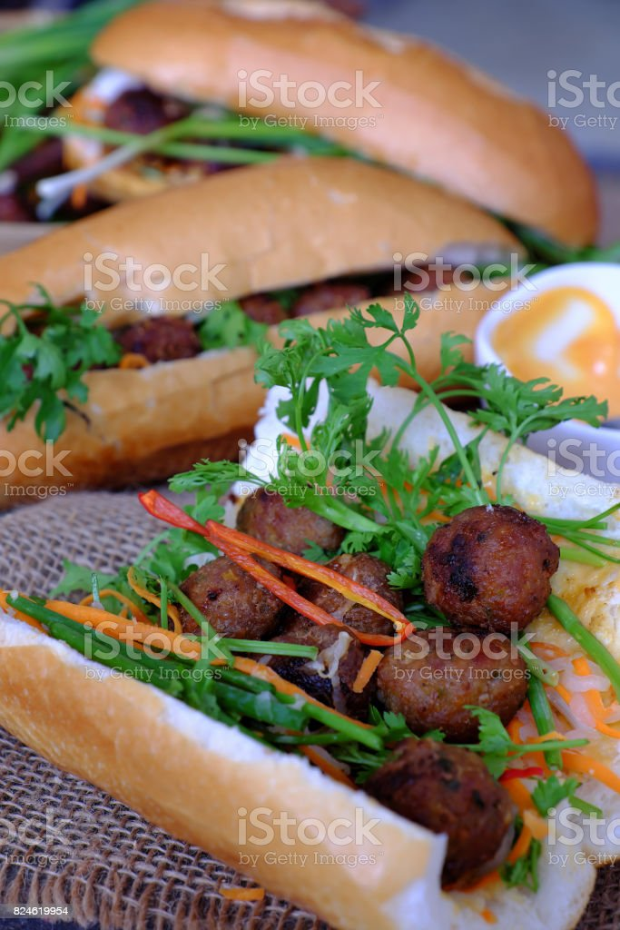 Vietnamese street food, banh mi thit nuong stock photo