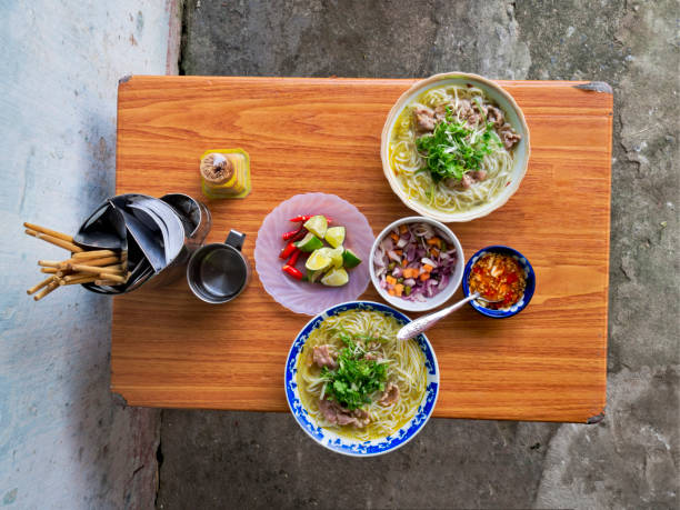 vietnamese street food beef noodles bun bo close up of vietnamese street food beef noodles bun bo huế stock pictures, royalty-free photos & images