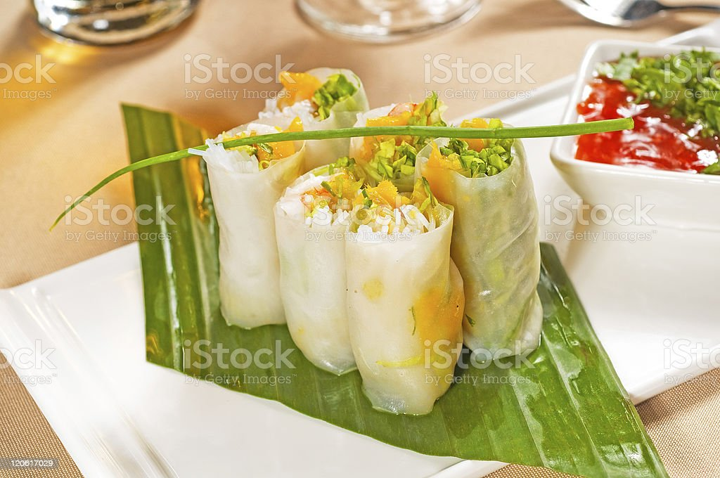 vietnamese style summer rolls royalty-free stock photo