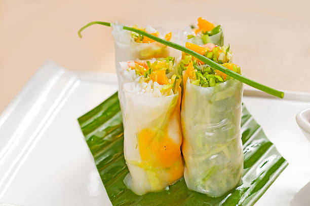 vietnamese style summer rolls stock photo