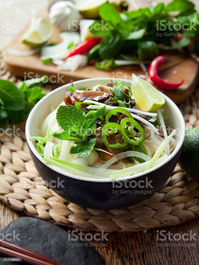 Vietnamese vegan vegetarian noodle meal stock photo
