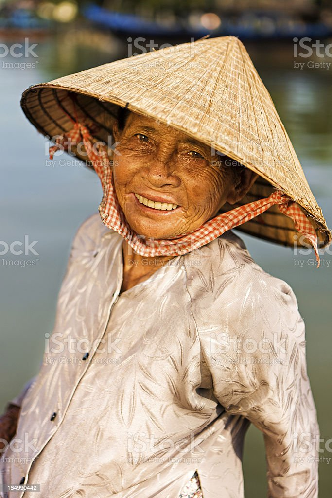 Vietnamese water taxi in Hoi An stock photo