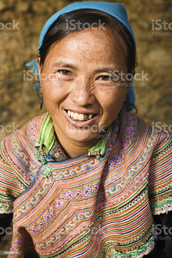 Vietnamese woman from Flower Hmong Tribe stock photo