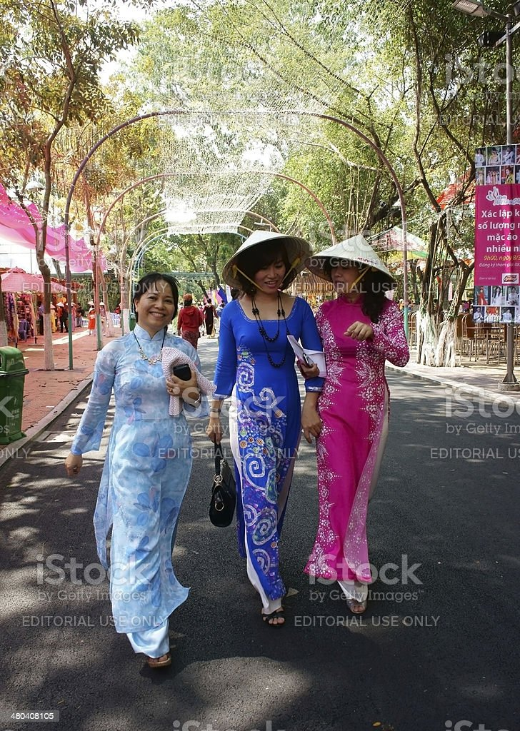 Vietnamese woman in traditional dress, stock photo