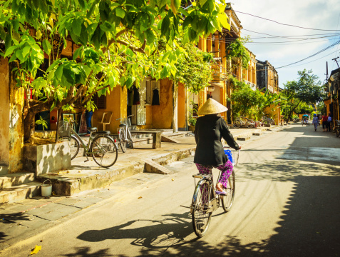 Vietnamese woman on a bicycle