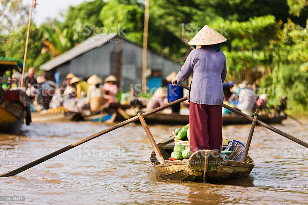 Vietnamese woman rowing  boat in the Mekong River Delta, Vietnam Vietnamese fruits seller - woman rowing boat in the Mekong river delta & selling fruits, Vietnam. Adult Stock Photo