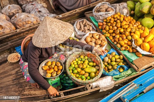 Vietnamese fruits seller on floating market - woman selling fruit from her boat in the Mekong river delta, Vietnam.