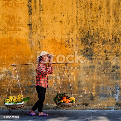 Vietnamese woman selling tropical fruits, old town in Hoi An city, Vietnam. Hoi An is situated on the east coast of Vietnam. Its old town is a UNESCO World Heritage Site because of its historical buildings.