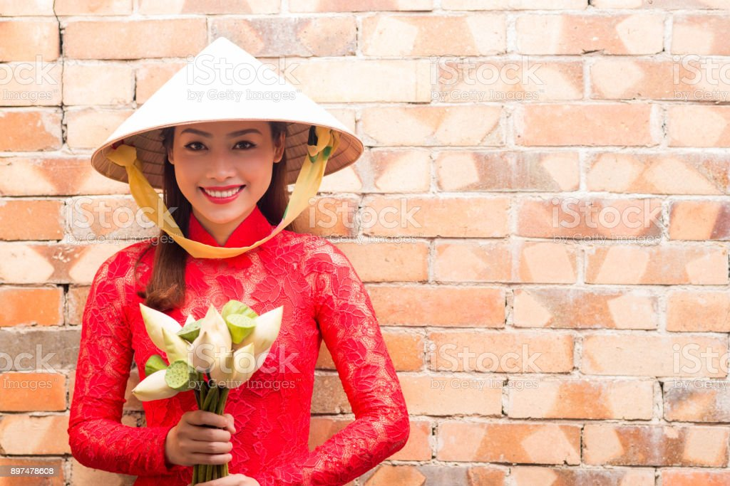 Vietnamese Woman with Flower Bouquet stock photo