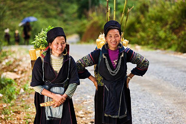 vietnamese women carrying corn near sapa town - village stock photos and pictures