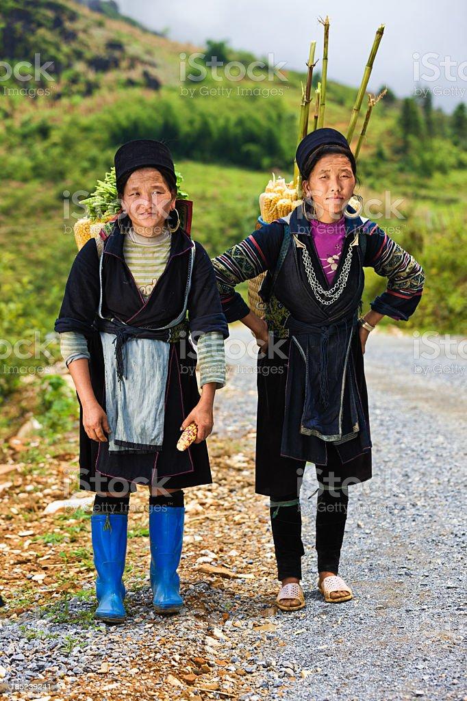 Vietnamese women carrying corn near Sapa town stock photo