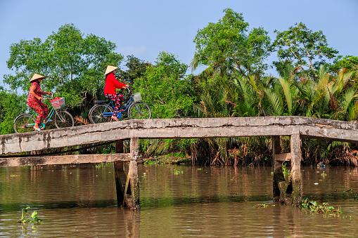 Vietnamese women riding a bicycle, Mekong River Delta, Vietnam