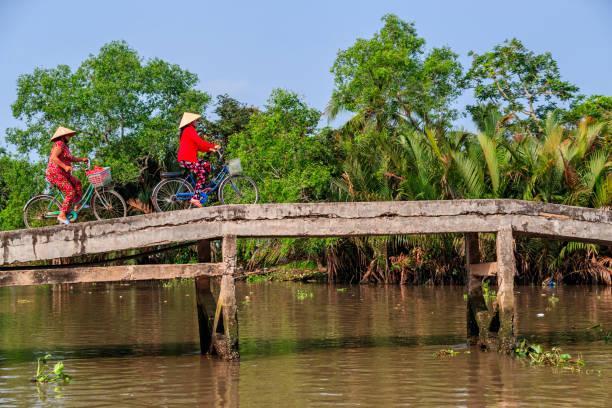 vietnamese vrouwen rijden op een fiets, mekong river delta, vietnam - vietnam stockfoto's en -beelden