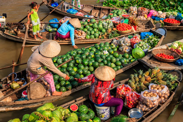 Vietnamese women selling fruits on floating market, Mekong River Delta, Vietnam Vietnamese women selling and buying fruits on floating market, Mekong River Delta, Vietnam vietnamese ethnicity stock pictures, royalty-free photos & images