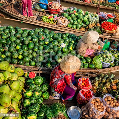 Vietnamese women selling and buying fruits on floating market, Mekong River Delta, Vietnam