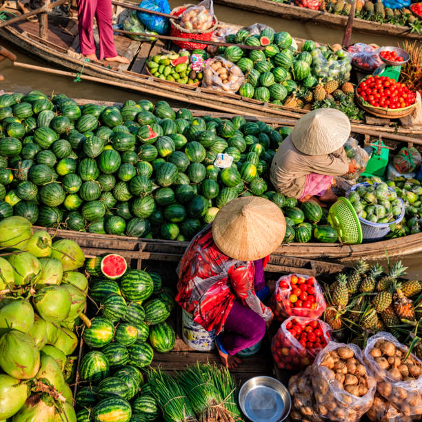 Vietnamese women selling fruits on floating market, Mekong River Delta, Vietnam Vietnamese women selling and buying fruits on floating market, Mekong River Delta, Vietnam vietnamese culture stock pictures, royalty-free photos & images