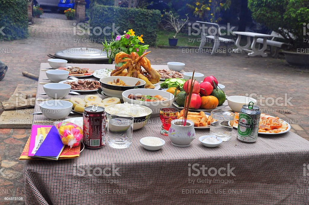Vietnamese worship tray of foods in the lunar new year stock photo