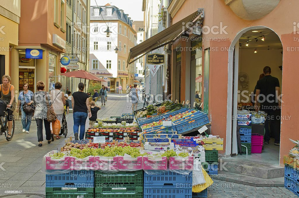 Vietnamesian fruit and vegetable shop in Germany stock photo