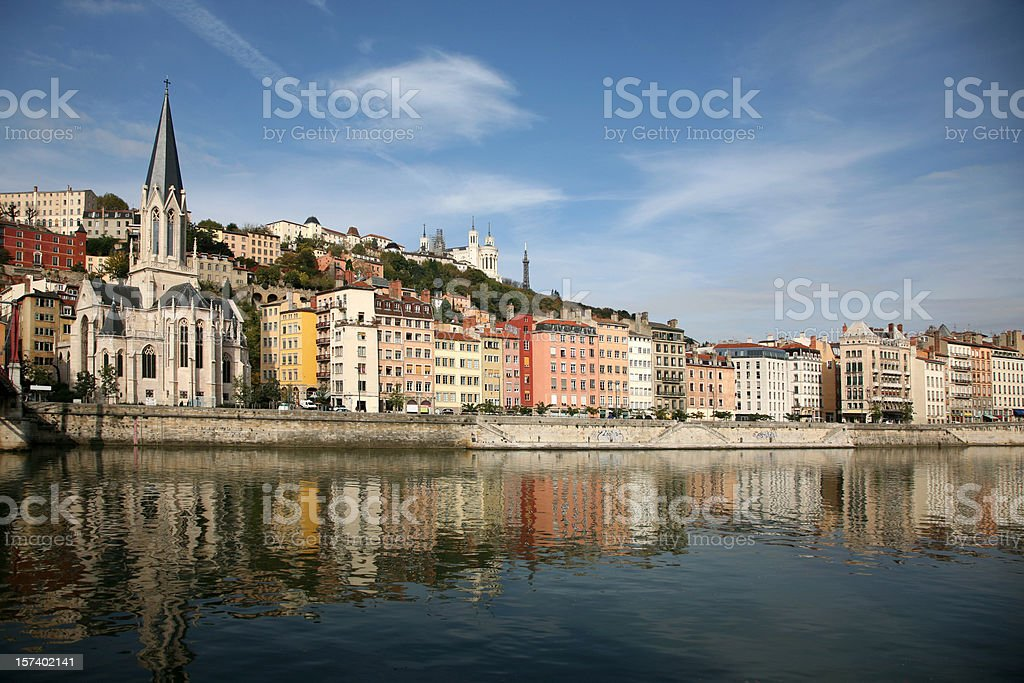 Vieux Lyon and Saone River stock photo