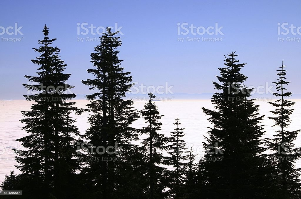 View Above Low-Lying Clouds stock photo