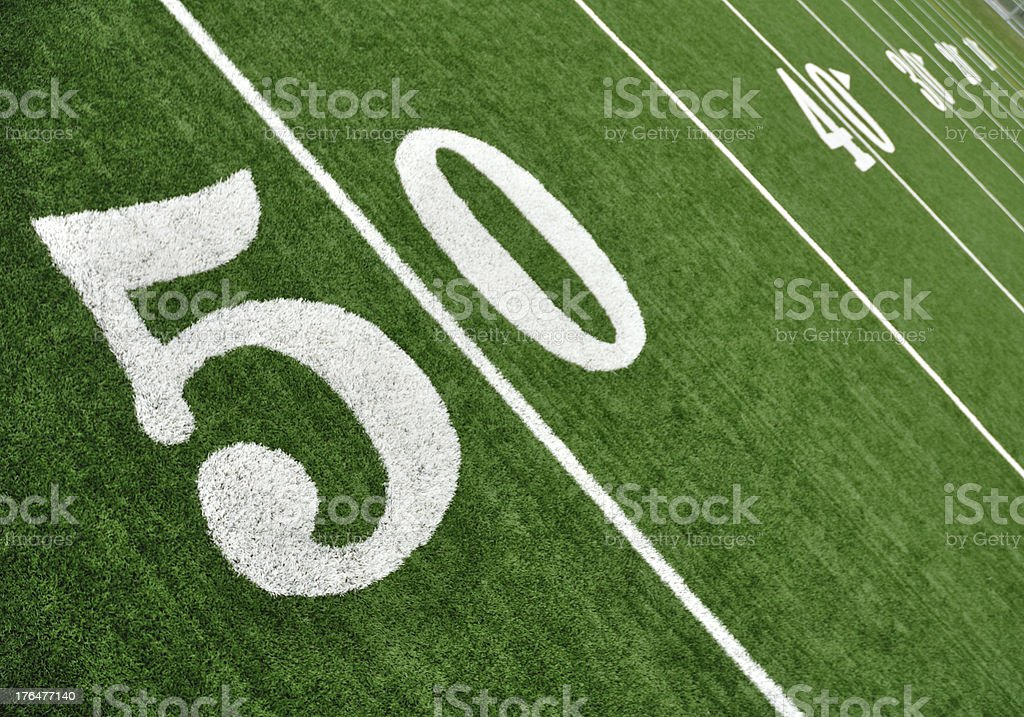 View Above of Fifty Yard Line on American Football Field stock photo