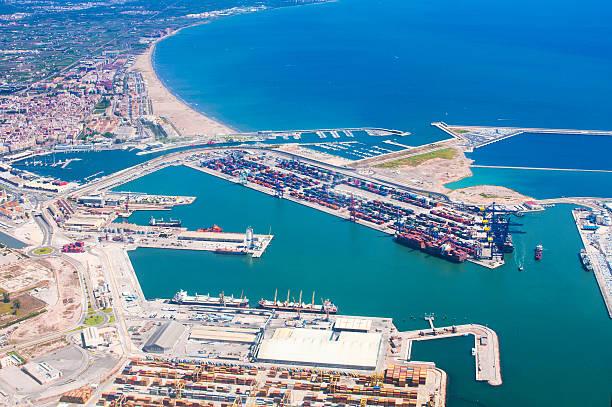 view above of valencia port - valencia stockfoto's en -beelden