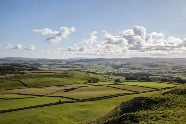 View above Settle in the Yorkshire Dales. stock photo
