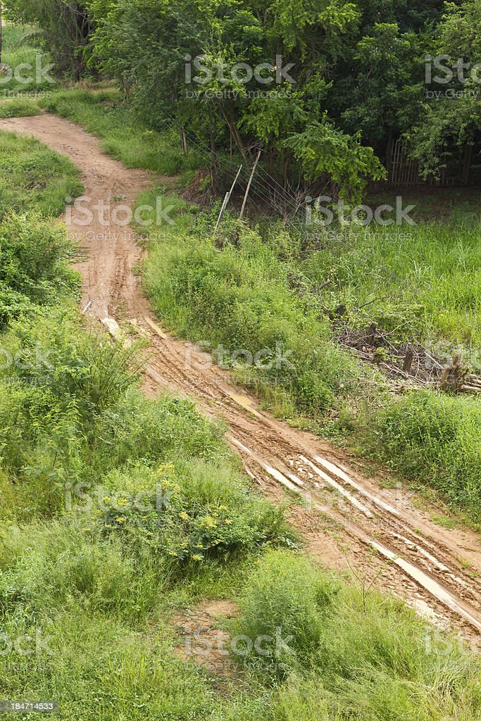 View above the gravel roadbed royalty-free stock photo